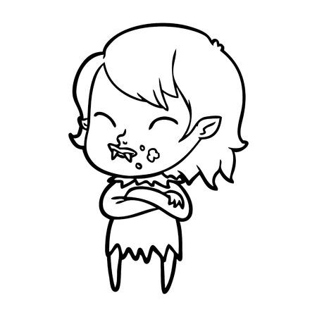 平凡な背景に頬に血を持つ漫画吸血鬼の女の子。  イラスト・ベクター素材