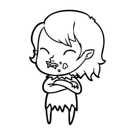 A cartoon vampire girl with blood on cheek on plain background.
