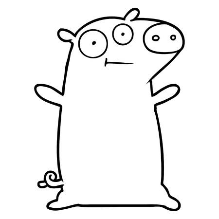A happy cartoon pig on plain background.