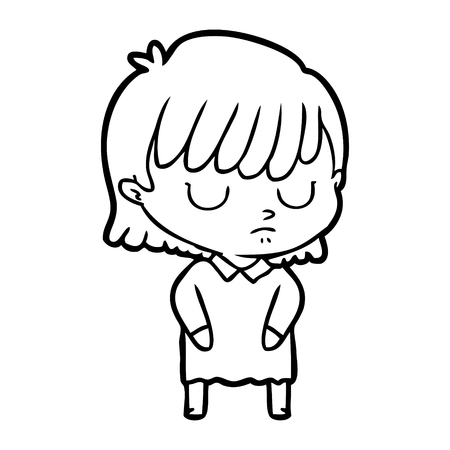 A cartoon woman on plain background. Фото со стока - 95294086