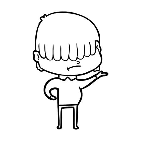 A cartoon boy with untidy hair on plain background.
