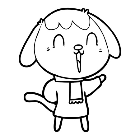 A cute cartoon dog on plain background.