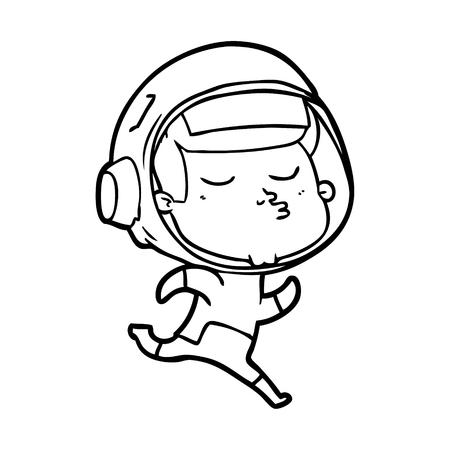 A cartoon confident astronaut on plain background.
