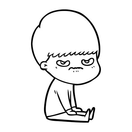 白い背景に漫画の孤独な少年のイラスト。