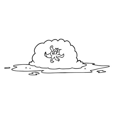 Cartoon squashed tomato illustration on white background.