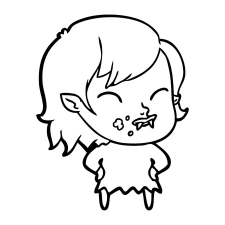 Cartoon vampire girl with blood on cheek Ilustração