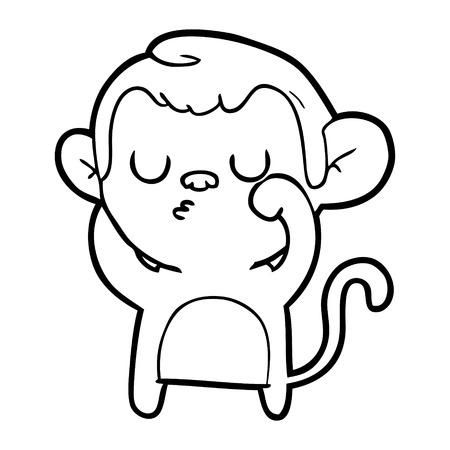 Cartoon sniffing monkey