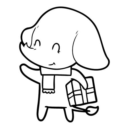 Cute cartoon Christmas elephant vector Illustration