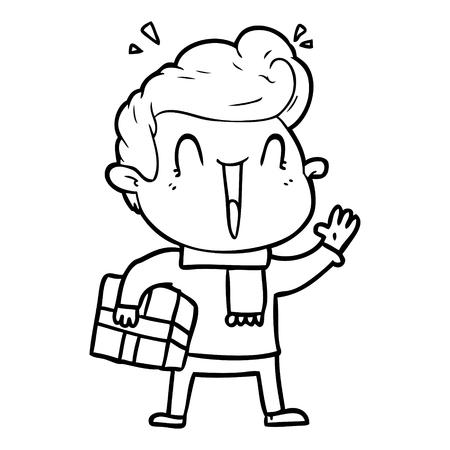 Cartoon illustration of an excited man Ilustração