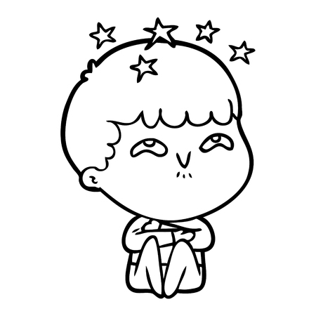 Cartoon amazed boy with stars around his head vector  イラスト・ベクター素材