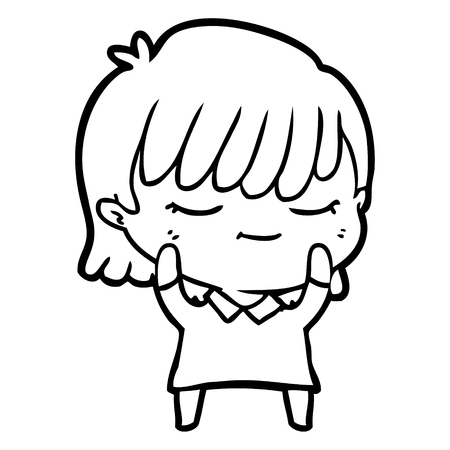 Cartoon woman with shy expression vector