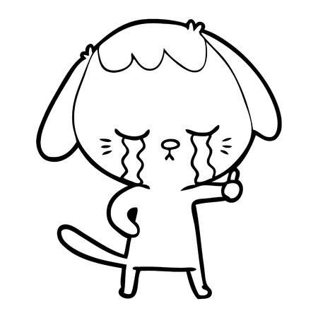 Chien de dessin animé avec des larmes vers le bas Vecteurs