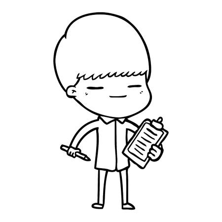 Cartoon smug boy with clip board illustration on white background.