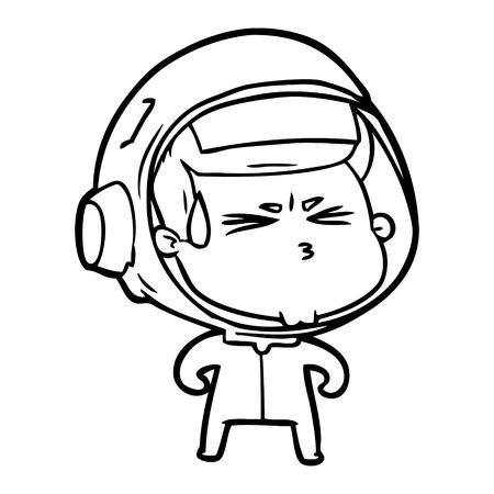 Cartoon stressed astronaut illustration on white background. Archivio Fotografico - 95376869