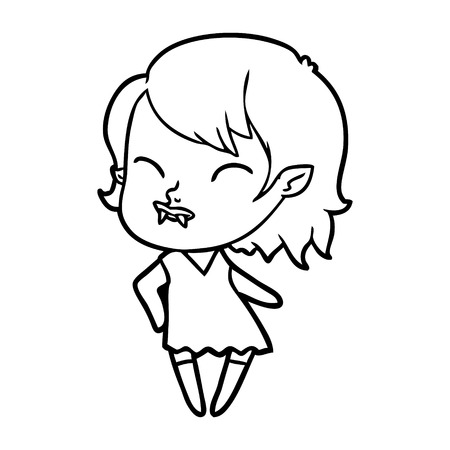 白い背景に頬のイラストに血を持つ漫画吸血鬼の女の子。  イラスト・ベクター素材