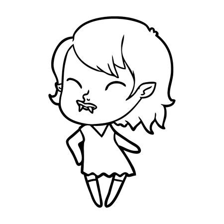 Cartoon vampire girl with blood on cheek illustration on white background. Illustration
