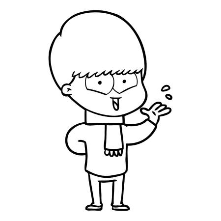 Cartoon happy boy wearing a scarf
