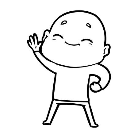 Happy cartoon bald man waving his hand  イラスト・ベクター素材
