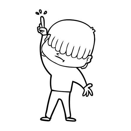 Cartoon boy with untidy hair. Finger pointing up