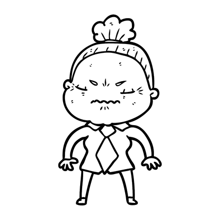 cartoon annoyed old lady