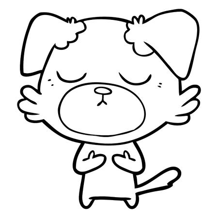 Cute cartoon dog with eyes close Illustration
