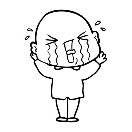 cartoon crying bald man Ilustração