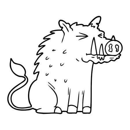 Cartoon warthog illustration on white background.