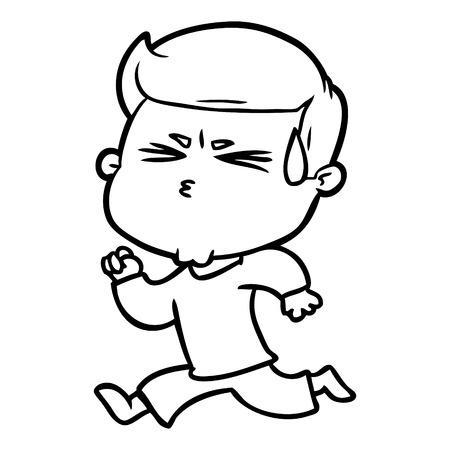 Cartoon man sweating illustration on white background. Archivio Fotografico - 95376609
