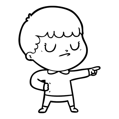 Cartoon grumpy boy illustration on white background. Ilustração