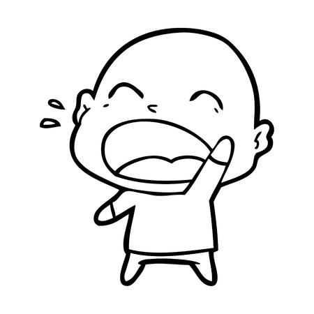 Cartoon shouting bald man illustration on white background. Stock fotó - 95376551