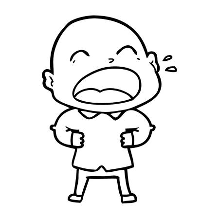 Cartoon shouting bald man illustration on white background. Illusztráció