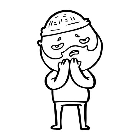 cartoon worried man with beard 版權商用圖片 - 95298211