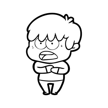 Worried cartoon boy illustration on white background.