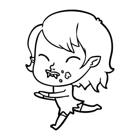 Cartoon vampire girl with blood on cheek illustration on white background. Çizim