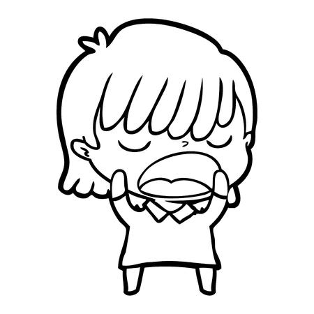 Cartoon woman talking loudly illustration on white background. Illustration