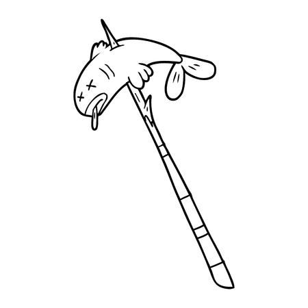 Cartoon fish speared illustration on white background.
