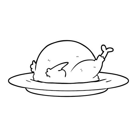 Cartoon cooked turkey illustration on white background.