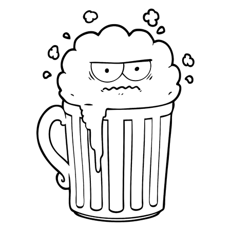 Cartoon mug of beer illustration on white background. Illustration