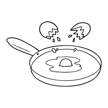 Cartoon pan frying egg illustration on white background.