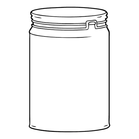 cartoon empty glass jar Çizim
