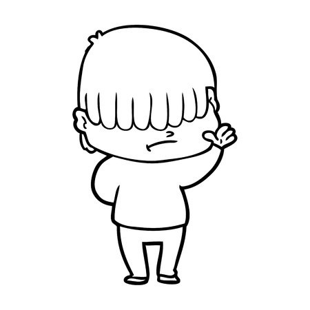 cartoon boy with untidy hair Ilustracja