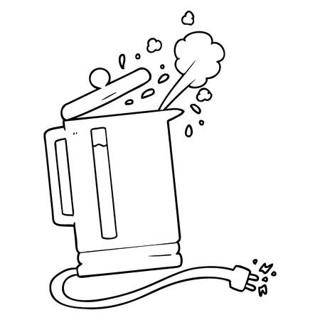 漫画電気やかん沸騰  イラスト・ベクター素材