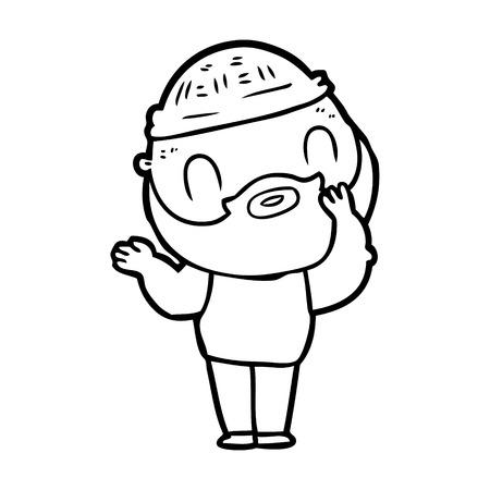 cartoon bearded man Vector illustration.  イラスト・ベクター素材