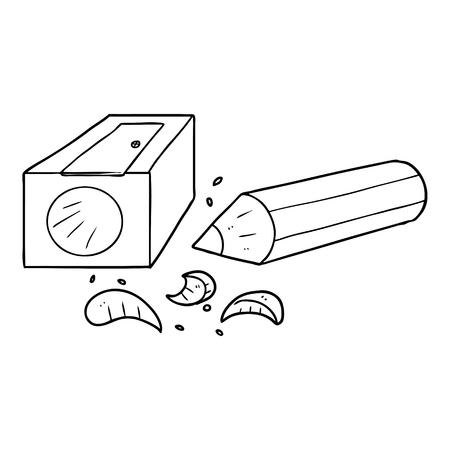 cartoon pencil and sharpener