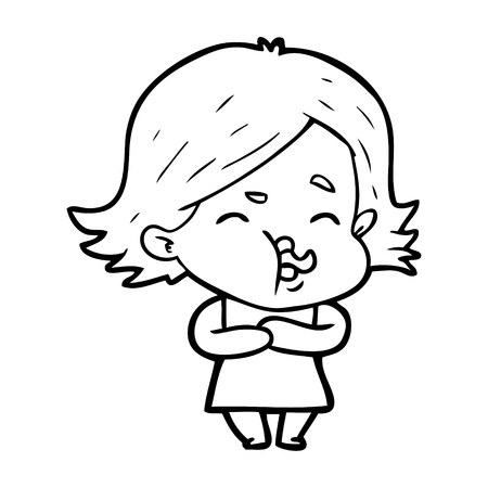 cartoon girl pulling face Ilustração