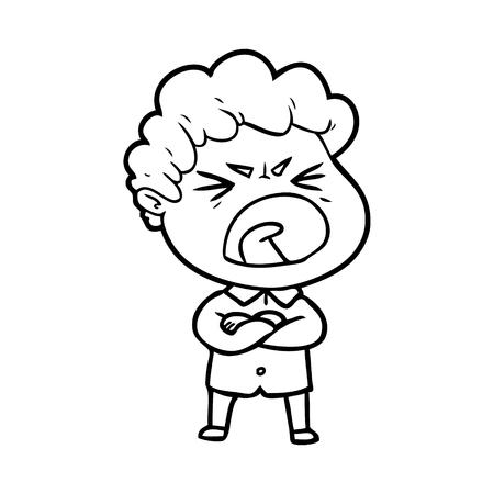 cartoon furious man Çizim