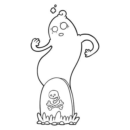 Griezelig cartoongraf met stijgende geest Stockfoto - 95304006