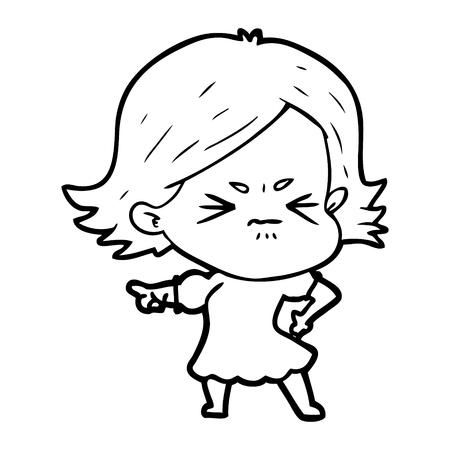 cartoon angry woman Vector illustration.