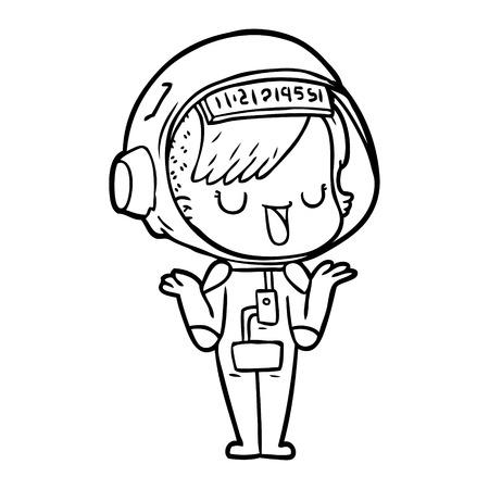 cartoon astronaut woman Ilustração