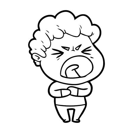 cartoon furious man Illustration